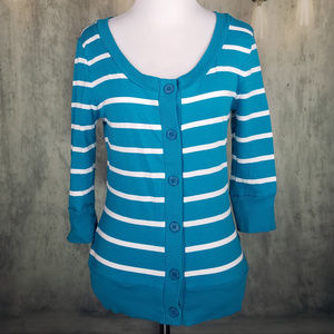 Love Culture Sweater Striped Teal&White Size Small